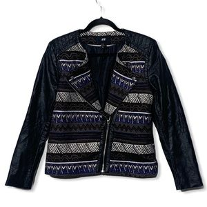 H&M Aztec Print Moto Jacket Faux Leather Sleeve